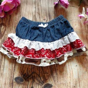 Cow print red bandana denim cowgirl baby skirt